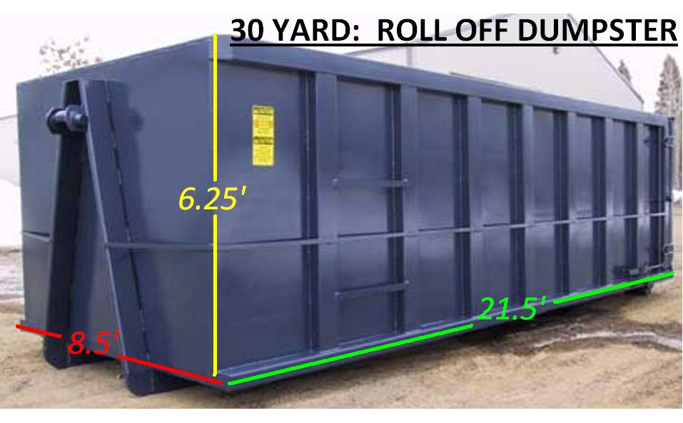 30 Yard: Roll Offs Dumpster