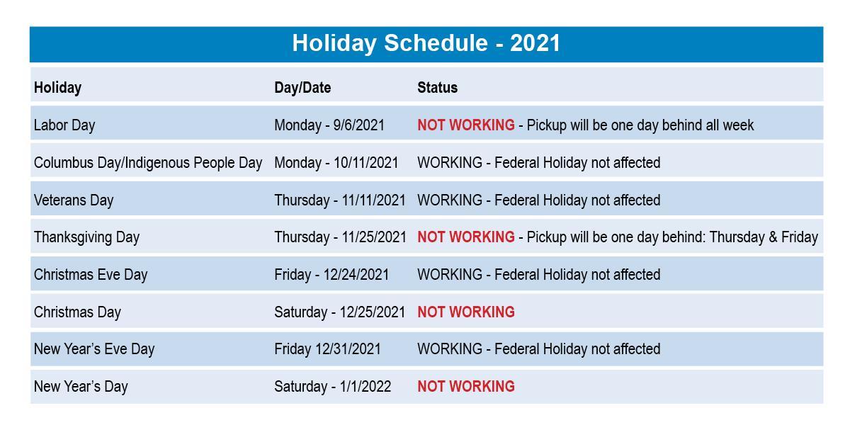 Holiday Schedule 2021Rev